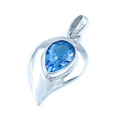 Droplet Sterling Silver and Blue Topaz Pendant