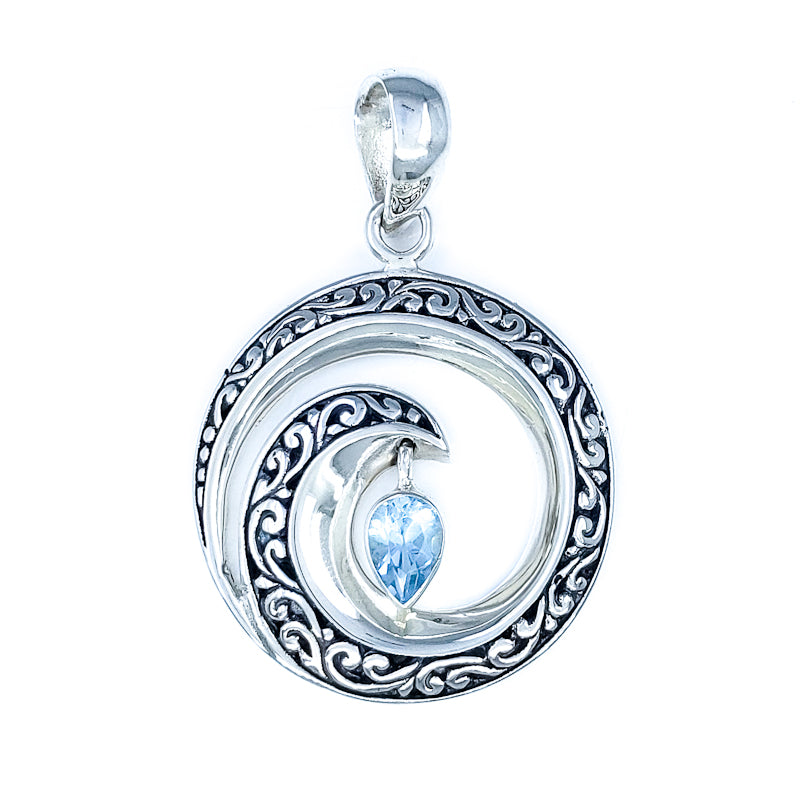 Round Filigreed Wave Pendant with Blue Topaz