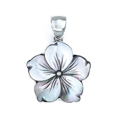 Gray Mother of Pearl Hibiscus Pendant