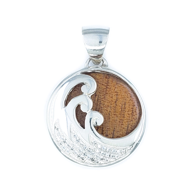 Delicate Wave Pendant with Koa Wood & Cubic Zirconia