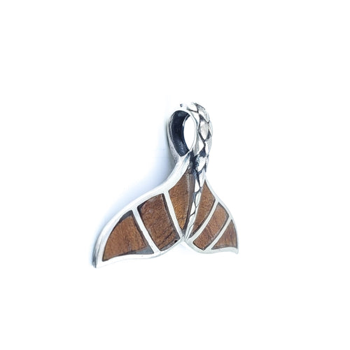 Sterling Silver Whale Tail Pendant with Koa Wood