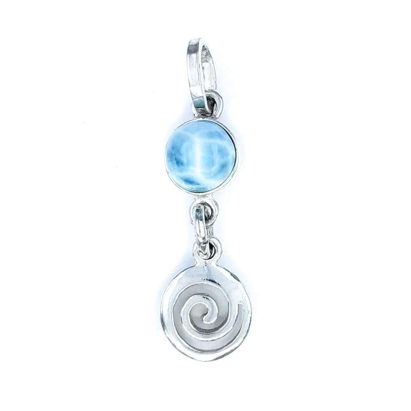 Sterling Silver Wave Pendant with Larimar