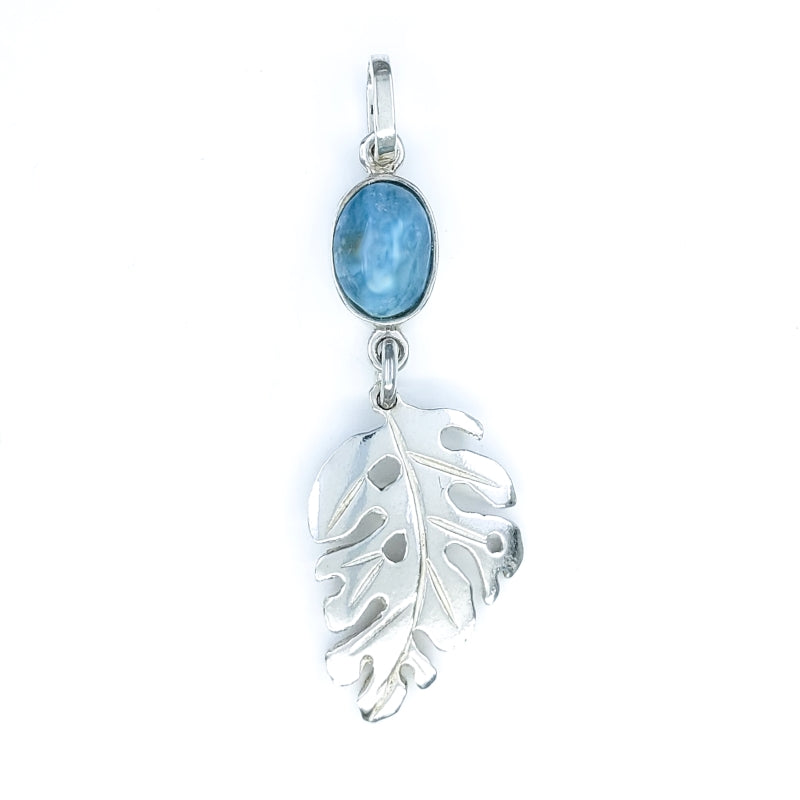 Sterling Silver Monstera Leaf Pendant with Larimar