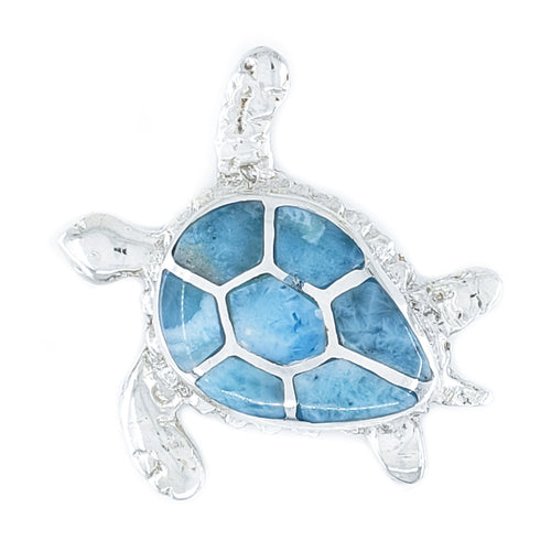 Large Sterling Silver Turtle Pendant with Larimar