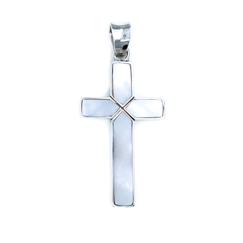 Sterling Silver Cross Pendant with White Mother of Pearl