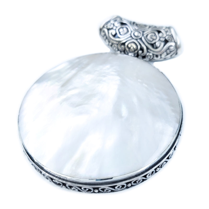 Fancy Large Round White Mother of Pearl Pendant with Filigree
