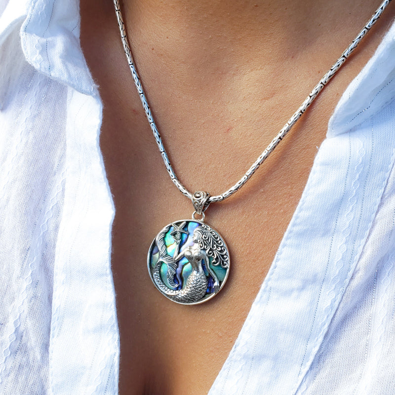 Round Sterling Silver Mermaid Pendant with Abalone Shell