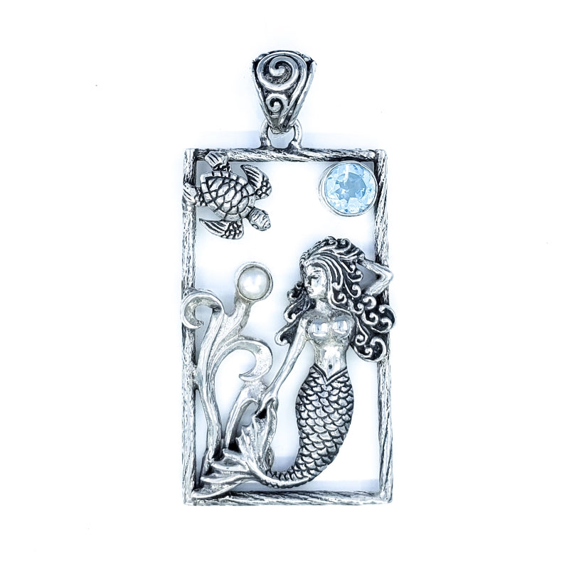 Sterling Silver Sealife Pendant with Mermaid and Sea Turtle