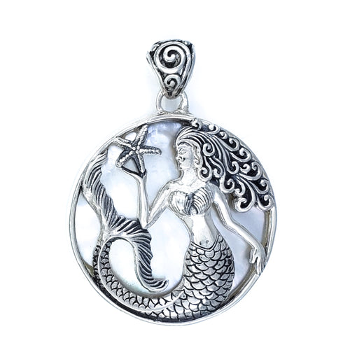 Round Sterling Silver Mermaid Pendant with White Mother of Pearl
