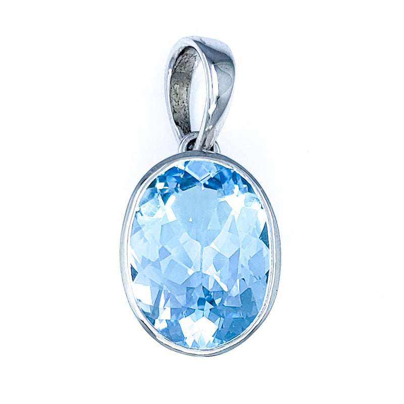 Large Oval Blue Topaz Pendant
