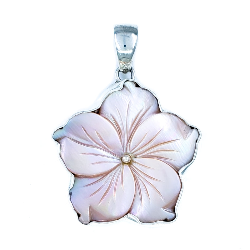 Pink Mother of Pearl Hibiscus Pendant