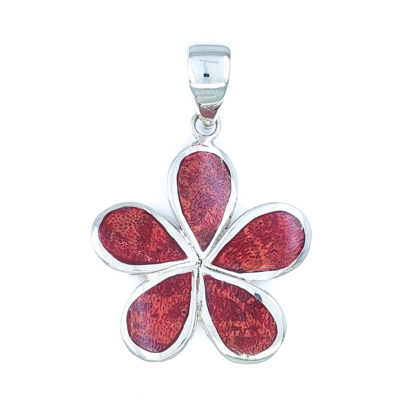 Fancy Red Coral Plumeria Flower Pendant