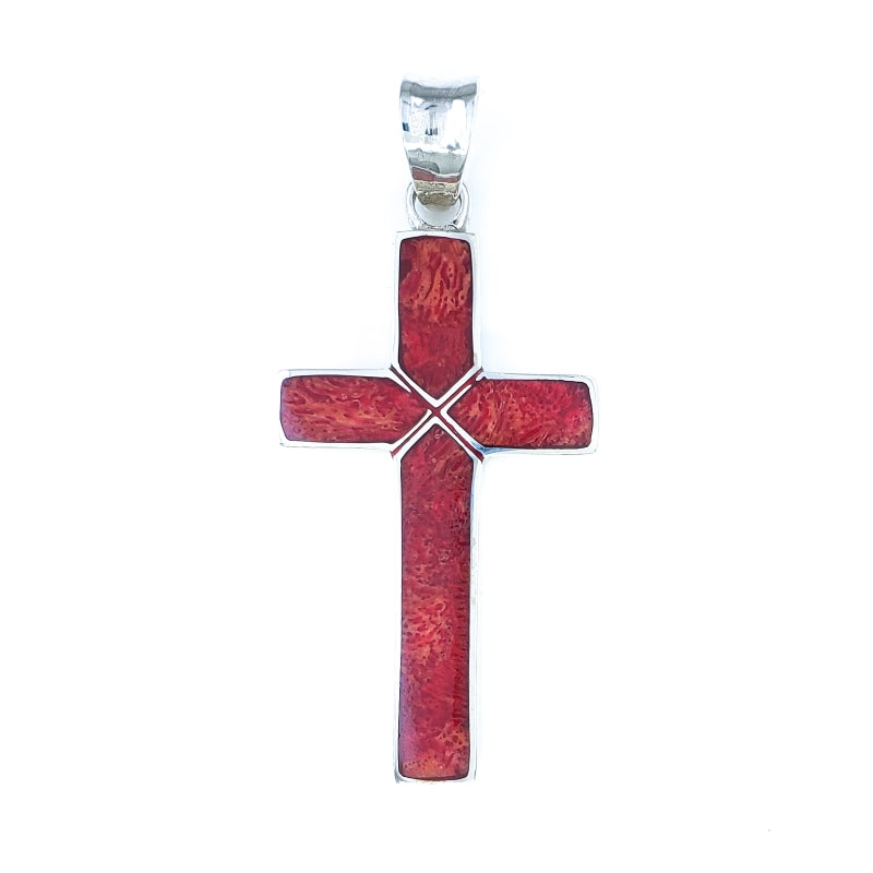 Sterling Silver Cross Pendant with Red Coral