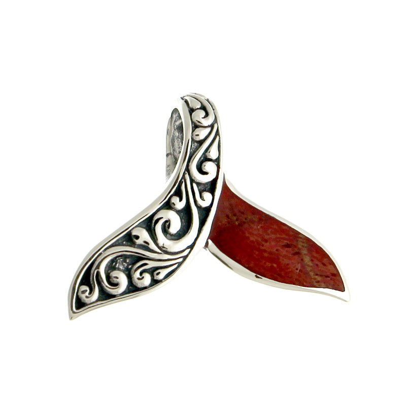 Ornate Silver Whale Tail Pendant with Red Coral