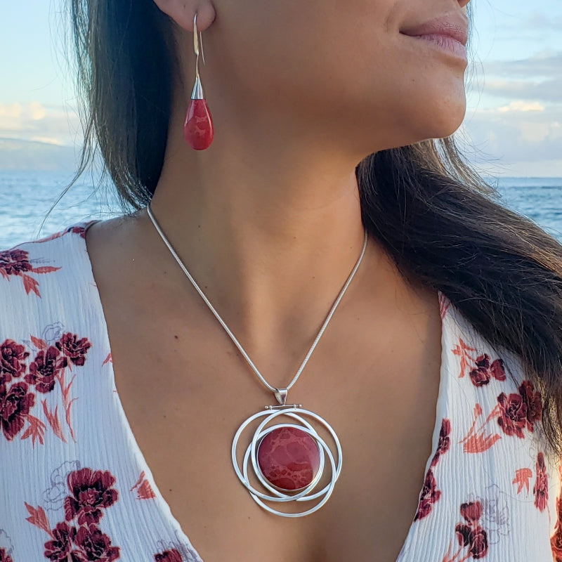 Large Round Red Coral Pendant with Silver Circles