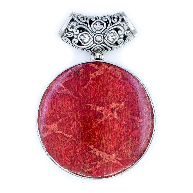 Fancy Large Round Red Coral Pendant with Filigree