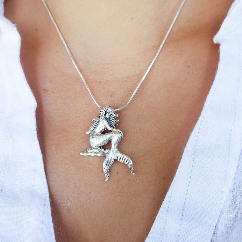 Sterling Silver Mermaid On The Shore Pendant