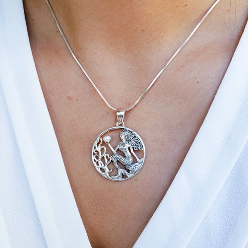 Round Sterling Silver Mermaid Pendant with White Freshwater Pearl