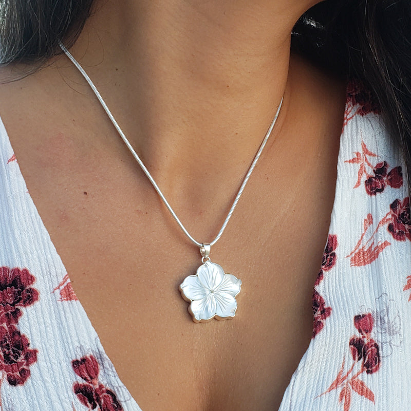 White Mother of Pearl Hibiscus Pendant