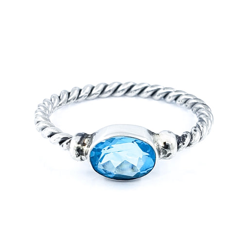 Filigreed Sterling Silver Ring with Blue Topaz
