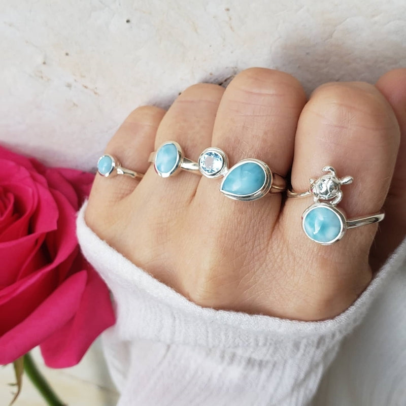 Round Larimar Sterling Silver Turtle Ring