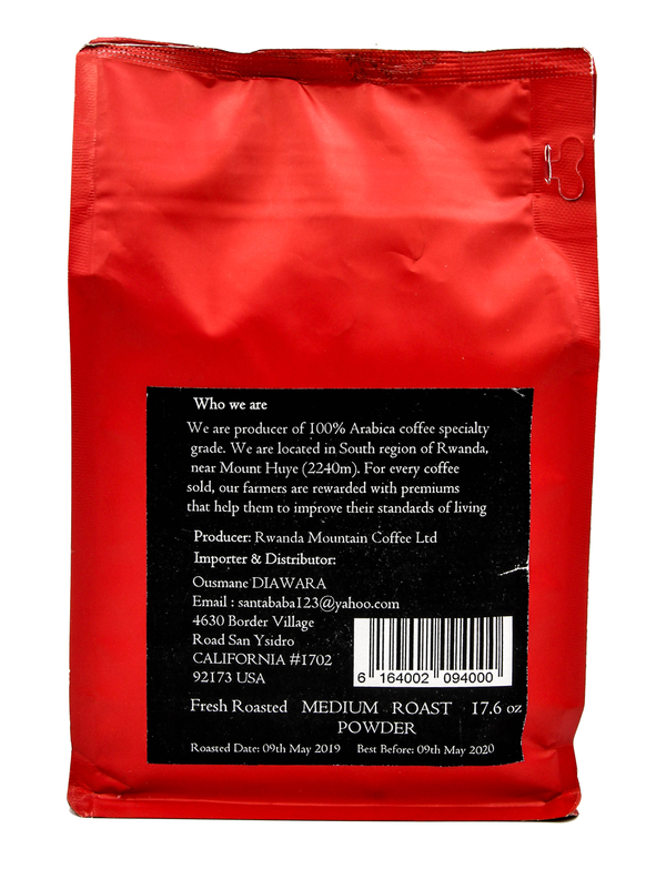 Mountain coffee Rwanda 100% arabica coffee speciality- Medium roast -500g - Whole beans