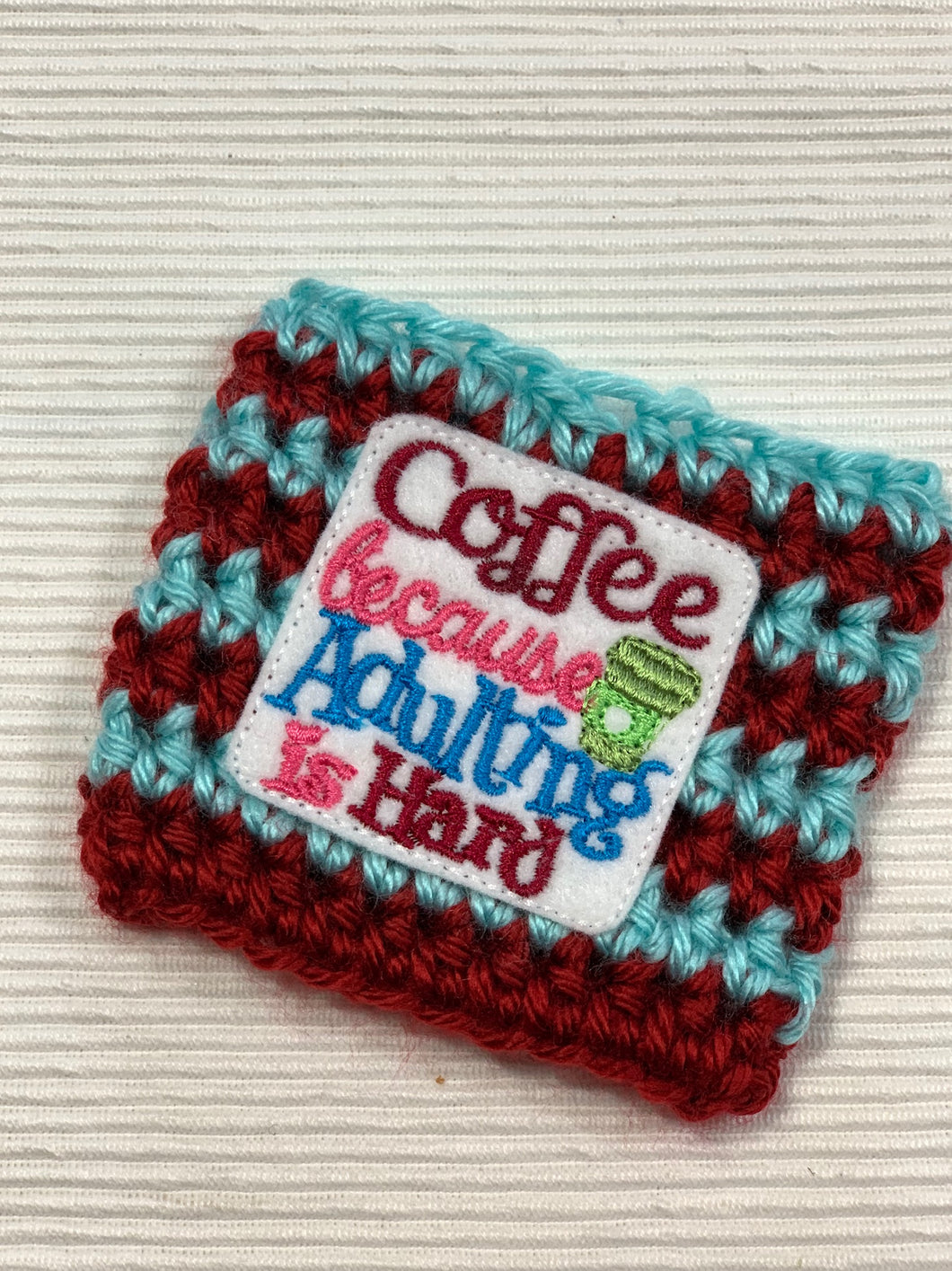 Coffee Because Adulting is Hard Blue and Maroon Reusable Eco-Friendly Hot and Cold Beverage Cup Cozy