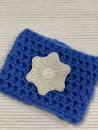 Silver Sparkle and Blue Snowflake Reusable Eco-Friendly Hot and Cold Beverage Cup Cozy