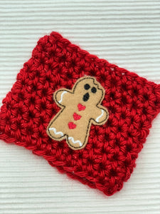 Gingerbread Man on Red Sparkle Reusable Eco Friendly Hot and Cold Beverage Cup Cozy