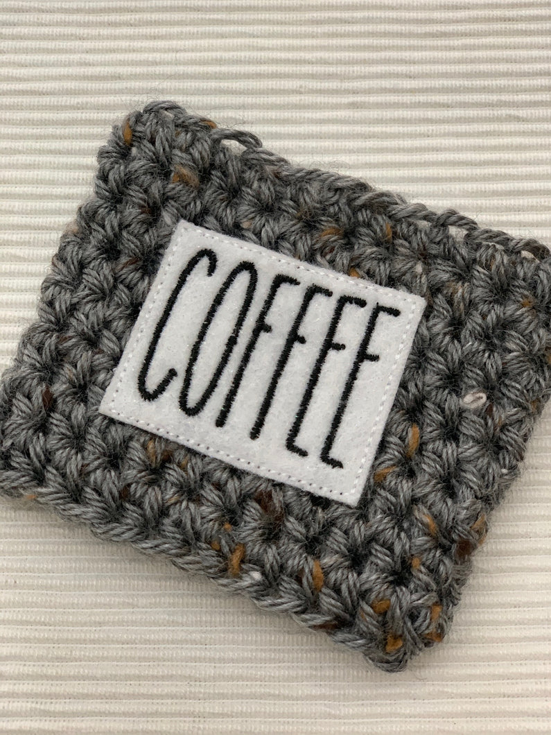 The Word COFFEE on Gray Reusable Eco Friendly Hot and Cold Beverage Cup Cozy