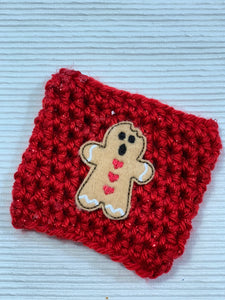 Christmas Gingerbread Man Reusable Eco-Friendly Hot and Cold Beverage Cup Cozy