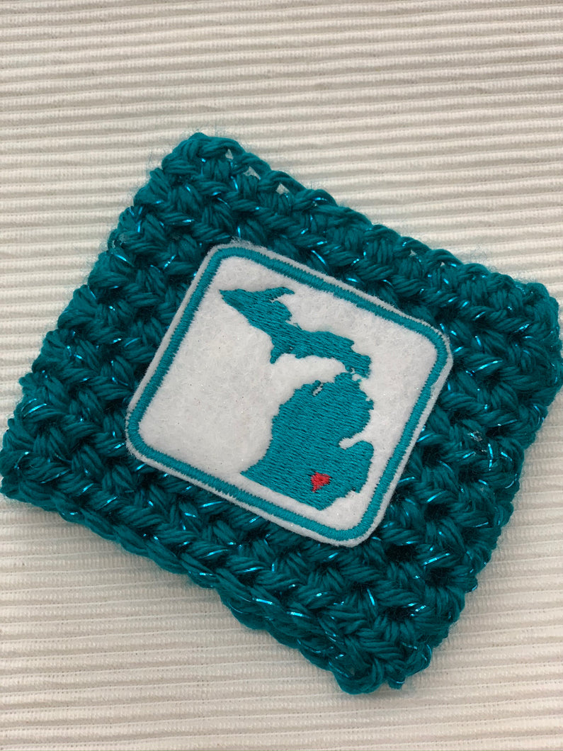 State of Michigan on Sparkle Turquoise Reusable Eco Friendly Hot and Cold Beverage Cup Cozy