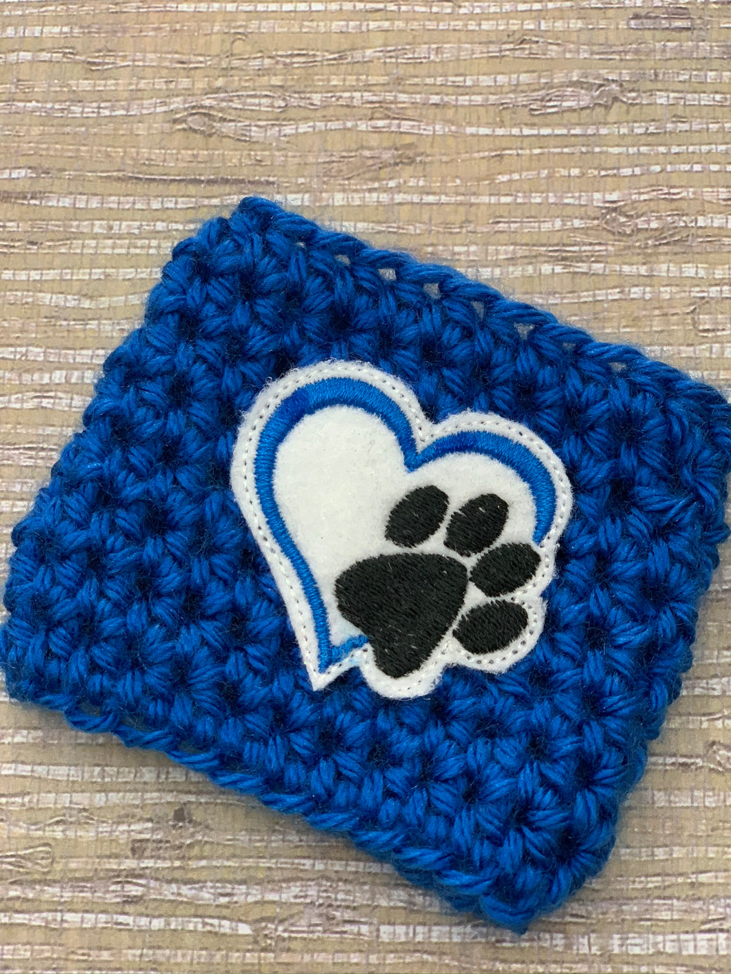 Dog Paw on Blue Reusable Eco Friendly Hot and Cold Beverage Cup Cozy