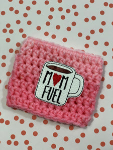 Mom Fuel Mug on Pink Ombre Reusable Eco Friendly Hot and Cold Beverage Cup Cozy