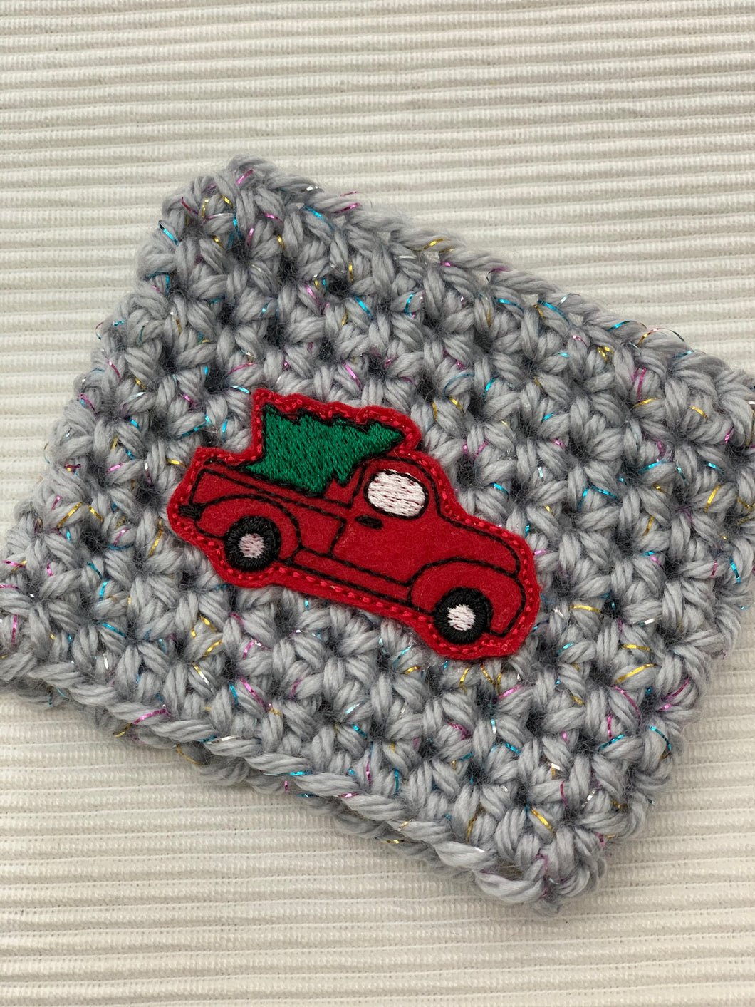Vintage Christmas Truck Sparkle Gray Reusable Eco Friendly Hot and Cold Beverage Cup Cozy
