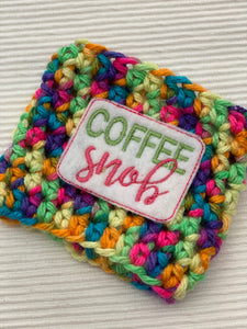 Coffee Snob on Multi Color Reusable Eco Friendly Hot and Cold Beverage Cup Cozy