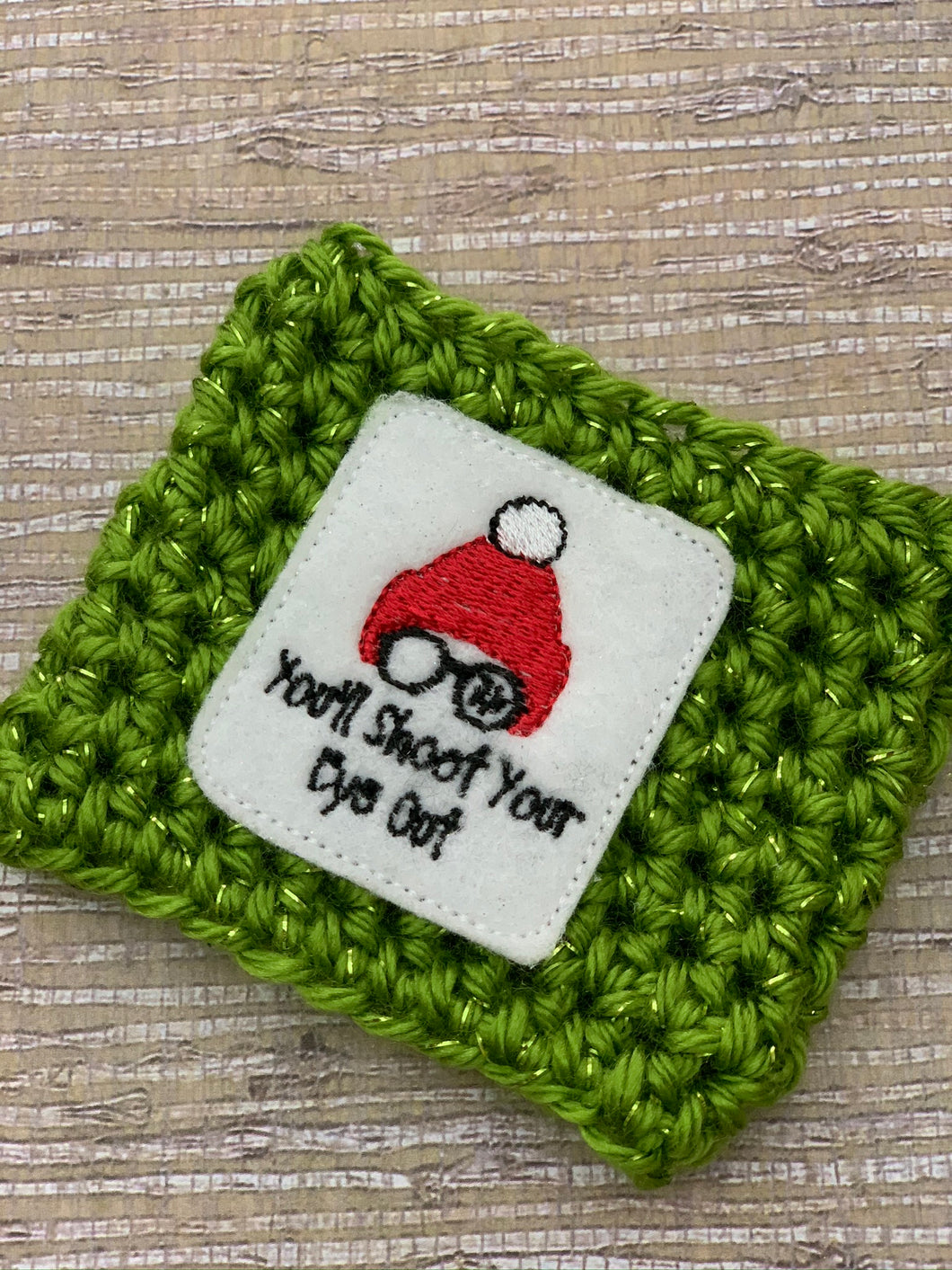 Christmas Story You'll Shoot Your Eye Out on Green Sparkle Reusable Eco Friendly Hot and Cold Beverage Cup Cozy