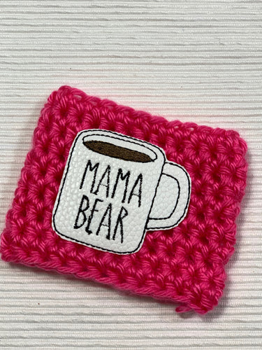 Mama Bear Mug on Pink Reusable Eco-Friendly Hot and Cold Beverage Cup Cozy