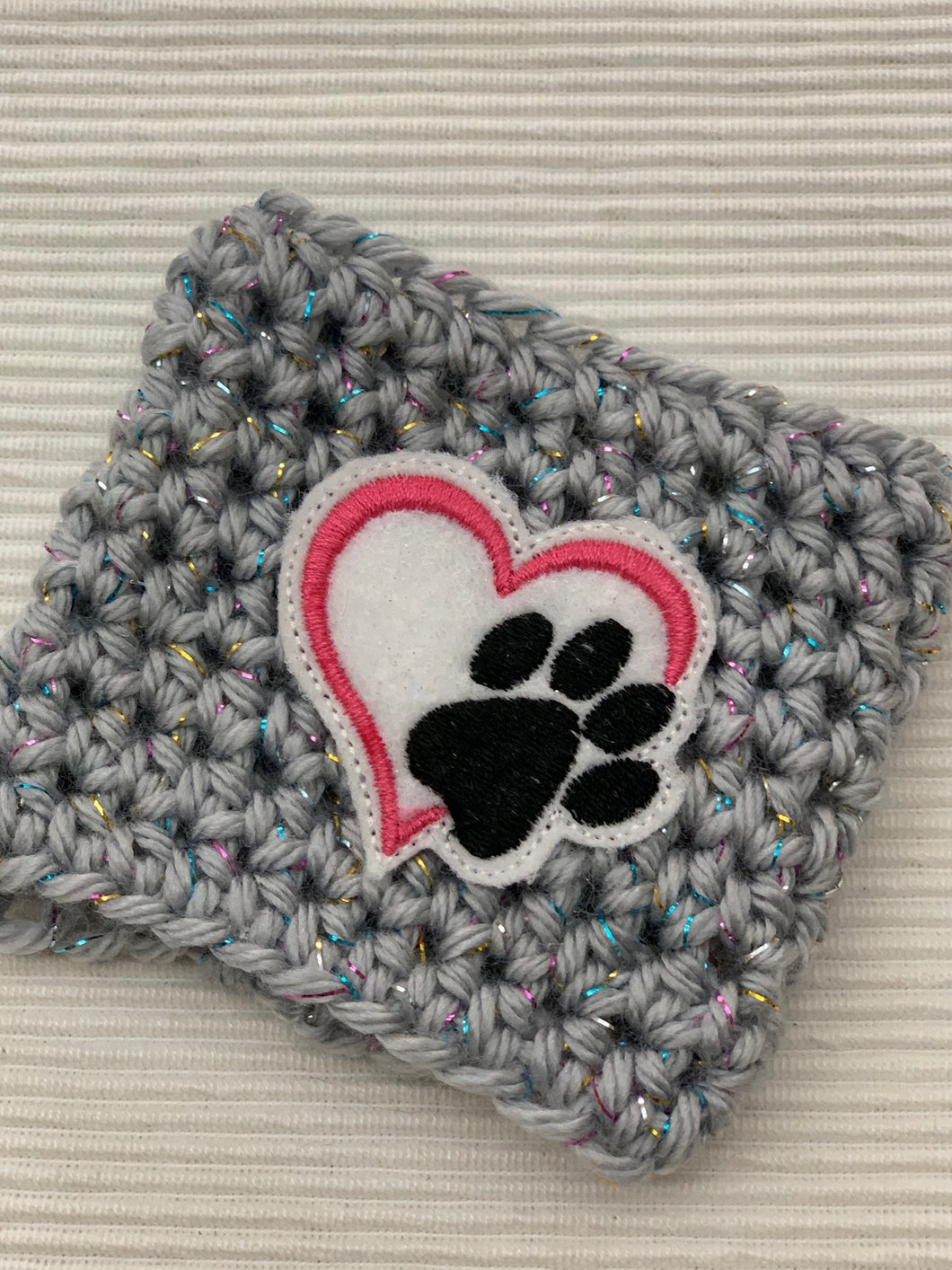 Dog Paw on Sparkle Gray Reusable Eco Friendly Hot and Cold Beverage Cup Cozy