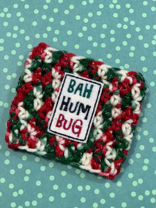 Christmas Bah Hum Bug Reusable Eco-Friendly Hot and Cold Beverage Cup Cozy