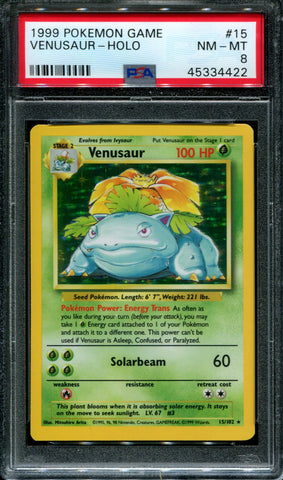 Venusaur - 15/102 - Base Set - PSA 8 - Holo