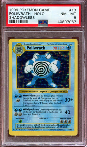 Poliwrath - Shadowless - Base Set - 13/102 - PSA 8