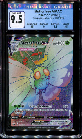 Butterfree Vmax - 190/189 - CGC 9.5 Gem Mint - Darkness Ablaze - 68058