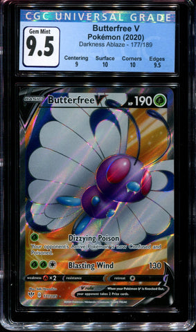 Butterfree V - 177/189 - CGC 9.5 Gem Mint - Darkness Ablaze - 68207