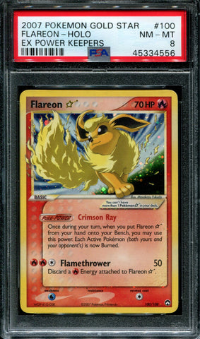 Flareon - Gold Star - EX Power Keepers - 100/108 - PSA 8