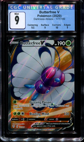Butterfree V - 177/189 - CGC 9 Mint - Darkness Ablaze - 68205