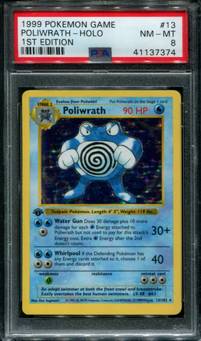 Poliwrath 1st Edition - 13/102 - PSA 8 NM-MT - Base Set Shadowless - 37374