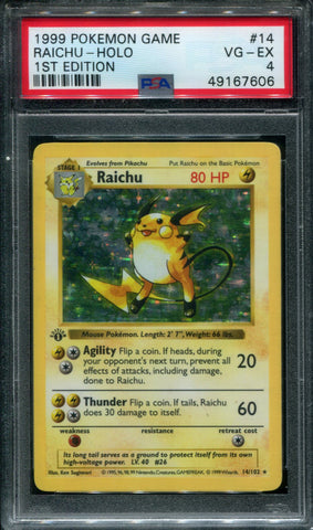 Raichu 1st Edition - 14/102 - PSA 4 VG-EX - Base Set Shadowless - 67606