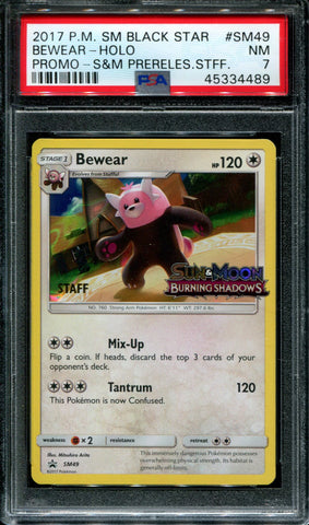 Bewear - Staff - Prerelease - Burning Shadows - SM49 - PSA 7