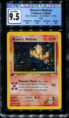 Blaine's Moltres - 1/132 - 1st Edition - CGC 9.5 - Gym Heroes - 30005